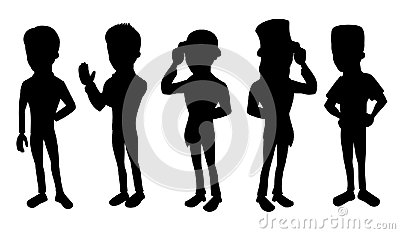 Collection of cartoon silhouettes of formal men