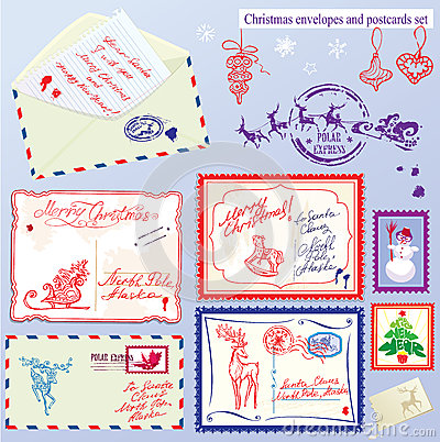 Collection of Christmas envelops, postcards, stamp
