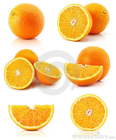 Collection citrus orange fruit isolated on white
