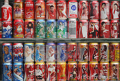 Collection of coke pop cans Editorial Image