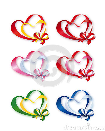 Collection of Colored Double Hearts