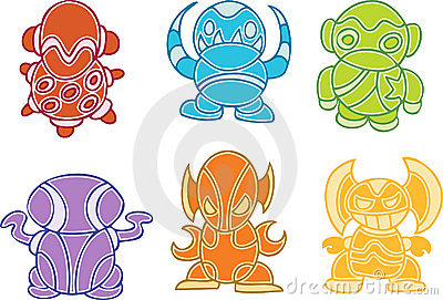 Collection of Colorful Aliens