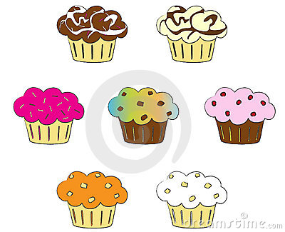 Collection of colorful cupcakes