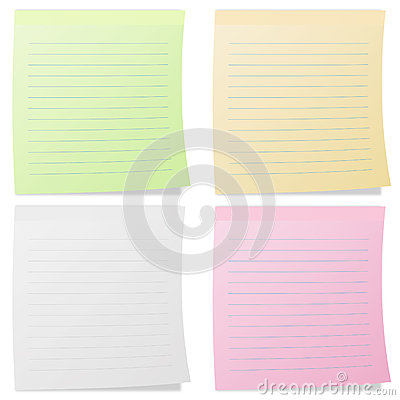Collection of colorful line note papers