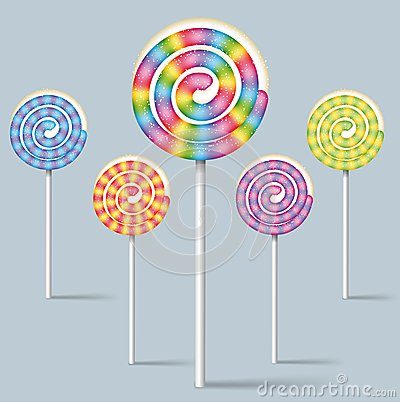Collection of colorful lollipops