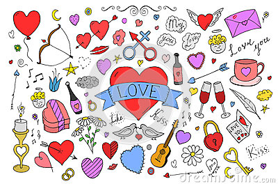 Collection of colorful valentines day elements in doodle style. Vector Illustration