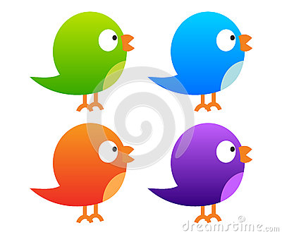 Collection of colour twitter birds