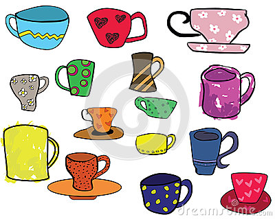 Collection of cups, freehand illustration