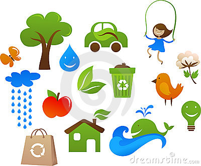 Collection of cute ecology icons