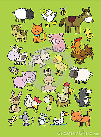 Collection of cute farm animal cartoons