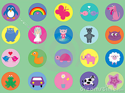 Collection of cute icons for kids
