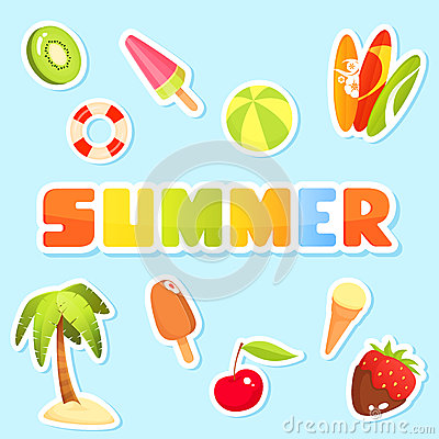 Collection of cute summer theme illustrations