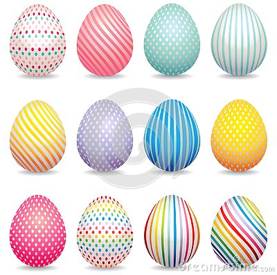 Collection of 3d decorated easter eggs Vector Illustration