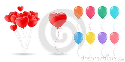 Collection of 3d realistic vector helium balloons red, gold, yellow, purple, blue, green... for birthday, party Vector Illustration