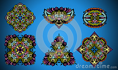 Collection of damask ornamental elements