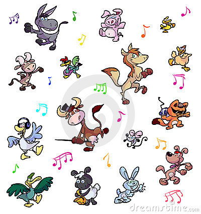 Collection of dancing crazy farm animals