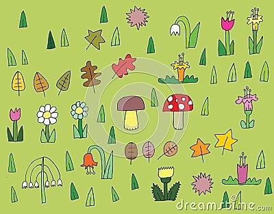 Collection de végétation de bande dessinée en couleurs