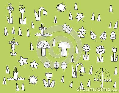 Collection de végétation de bande dessinée en noir et blanc