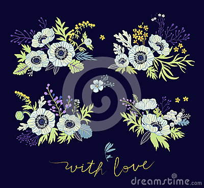 Collection decorative ornaments of flowers. Vector Illustration