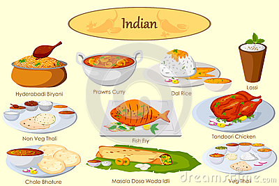 Collection of delicious Indian food Vector Illustration