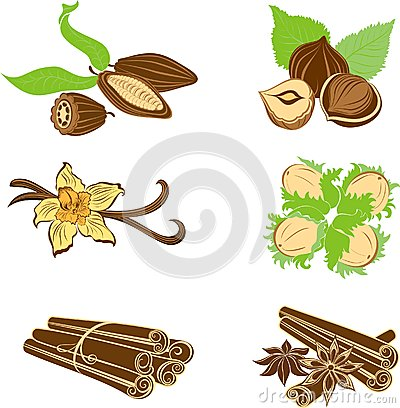 Collection of dessert ingredients. Hazelnuts, Cocoa beans, Vanil
