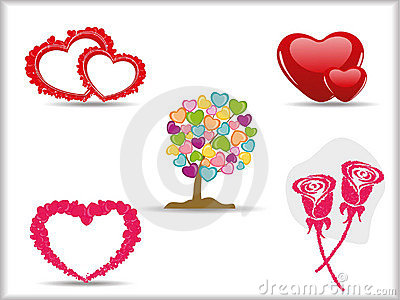 Collection of detailed  hearts.