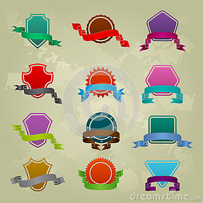 Collection of different ribbon icons
