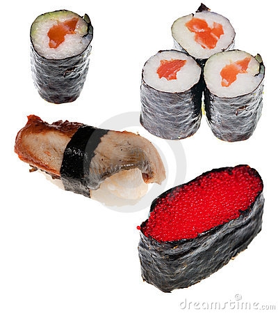 Collection of different sushi