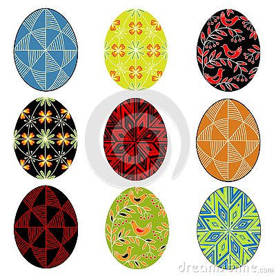 Collection. Easter egg with painted ornament. The symbol of Easter. An ancient tradition of people. Vector illustration set Cartoon Illustration