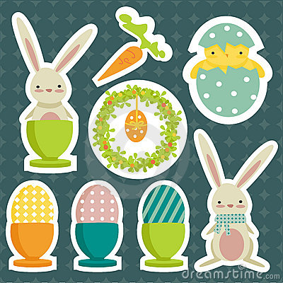 Collection of easter theme stickers