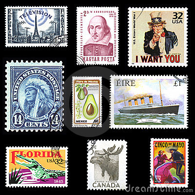 Collection of European and American postage stamps