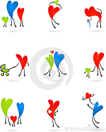 Collection of family heart silhouettes