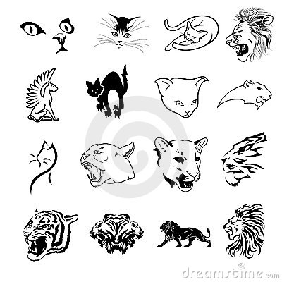 Collection of feline symbols
