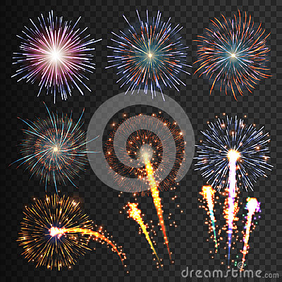 Free Collection Festive Fireworks Of Various Colors Arranged On A Black Background. Isolated Outbreaks Transparent To Paste Royalty Free Stock Photography - 68454277