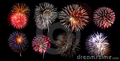 Collection Of Fireworks Royalty Free Stock Image - Image: 19984806
