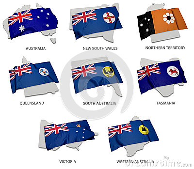 A collection of the flags covering the corresponding shapes from the australian states