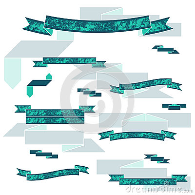 Collection of the flat color textured ribbons Vector Illustration