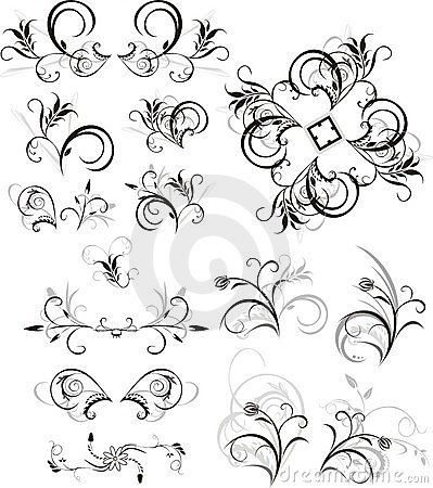Collection of floral ornaments