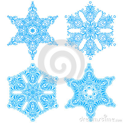 Collection of four elegance snowflakes