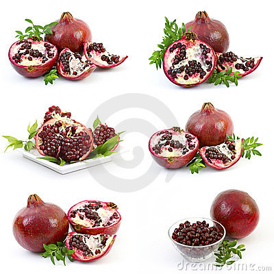 Collection of fresh pomegranate fruits