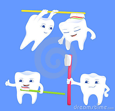 Collection of funny tooth cartoon characters