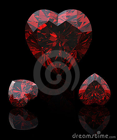 Collection garnet shape of heart  on black
