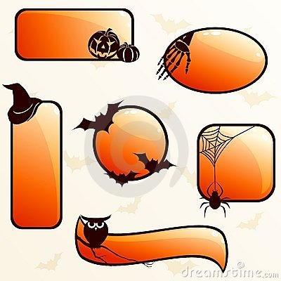 Collection of glossy halloween banners