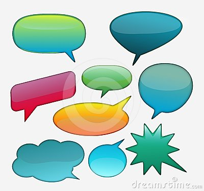 Collection of glossy speech bubble