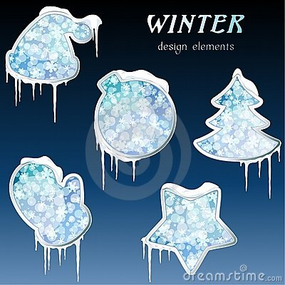 Collection of glossy winter icons with icicles