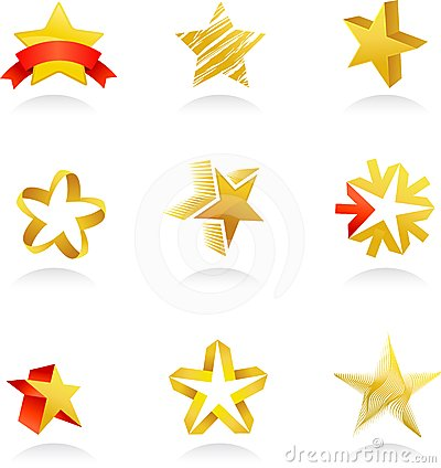 Collection of gold star icons, vector