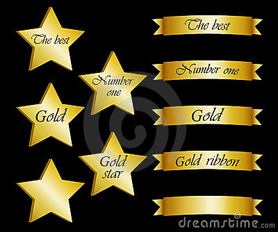 Collection of gold stars and ribbons with inscript