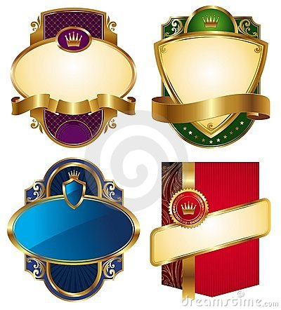 Collection of golden luxury labels