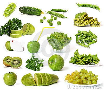 Collection of green fruits and vegetables