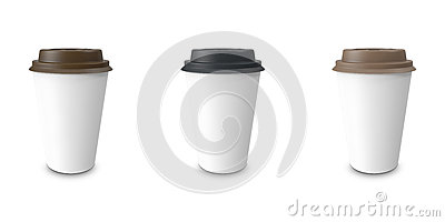 Collection, group, set, take-out coffee with cup holder. Isolated on a white background. Cartoon Illustration